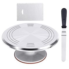 Kootek Aluminium Alloy Revolving Cake Stand 12 Inch Cake Turntable with Angled Icing Spatula and 3 Comb Icing Smoother, Silicon Spatula and Cake Server/Cutter Baking Cake Decorating Supplies - Food Cake Decorating Supplies, Cake Decorating Techniques, Decorating Tips, Cake Supplies, 12 Inch Cake, Novelty Birthday Cakes, Cake Icing, Almond Cakes, Energy Bars