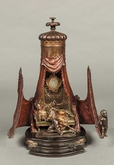 A Very Fine & Rare Antique Viennese Bronze Musical Box Table Lamp (Austria). A tent with a seduction scene inside!