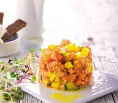 #Receita de Tártaro de #salmão com vinagreta de clementinas. #apetece