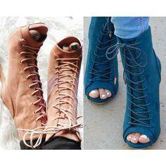 Lace Up Peep Toe Stiletto Booties
