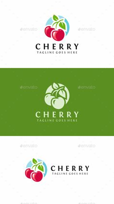 Cherry Fruit: Food Logo Design Template by Food Logo Design, Web Design, Logo Food, Graphic Design, Design Ideas, Fruit Illustration, Graphic Illustration, Illustrations, Cherry Logo
