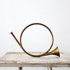 Vintage Hunting Horn // Brass Horn Instrument. $164.00, via Etsy.
