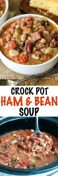 Crock Pot Ham and Bean Soup is the perfect meal to come home to and easy to make. No soaking is required, just place your ingredients in the slow cooker and this recipe is effortless! Dinner is ready (Crock Pot Soup Recipes) Crock Pot Slow Cooker, Crock Pot Cooking, Slow Cooker Recipes, Cooking Recipes, Healthy Recipes, Crock Pot Ham, Crock Pots, Crock Pot Gumbo, Crock Pot Beans