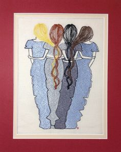 """Machine Embroidery Designs, Machine Embroidery, Sister, friend Holiday Embroidery """" 4 sisters/friends by NicolaElliott on Etsy"""