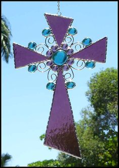 Mauve - Purple Stained Glass Cross Sun Catcher - Christian Design  by StainedGlassDelight, $37.95