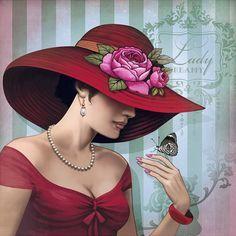 Lady in Red. Vintage Pictures, Vintage Images, Vintage Art, Estilo Art Deco, Art Deco Stil, Decoupage Vintage, Art Deco Fashion, Female Art, Art Images