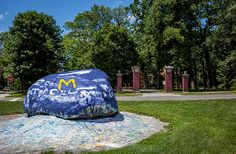 Painting the Rock is a longstanding campus tradition among our student groups and organizations! State Of Michigan, University Of Michigan, Detroit Sports, Losing Friends, Fairy Doors, Go Blue, Ann Arbor, Student Life, Public Art