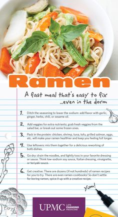Ah, ramen! While cheap and tasty, it's not exactly the healthiest option. Or is it? Leslie Bonci, Director of Sports Nutrition at UPMC Center for Sports Medicine, offers up some quick and low-cost suggestions on how to make this dorm room staple healthier. http://bit.ly/1nOmxcO