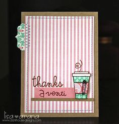 Thank you card  hot concoctions, sentiment sampler and alphadots {Paper Smooches}