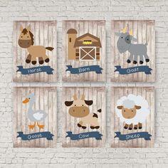 Farm animal nursery decor Blue and grey nursery Sheep by EllowDee