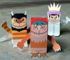 cardboard tube puppets :: Matsutake Celebrate Where the Wild Things Are with one of these crafts and a treat! wild thing puppet :: Whimsy Love crochet finger puppets :: Meet Me At Mike's wild things tote :: Bookhou Crafts printable. Paper Puppets, Paper Toys, Paper Crafts, Book Crafts, Diy Paper, Printable Crafts, Printable Paper, Free Printables, Art For Kids