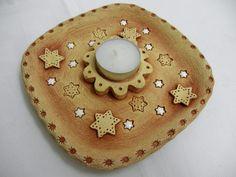 Svícen na čajovou svíčku Ze šamotové hlíny, velikost cm. Advent, Candle Holders, Pottery, Candles, Ceramics, Angels, Incense, Modeling, Weihnachten