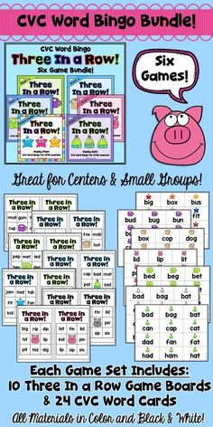 Here's an easy prep bundle of six CVC Word Bingo games - one set for each of the 5 short vowels and a set for mixed practice with all 5 vowels. Just print the bingo boards and word cards, cut the boards and word cards apart, and  you're ready to play! This game is perfect for centers or small group work any time of the year!