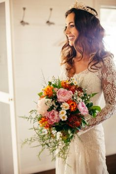 Pretty lace long-sleeve wedding gown paired with a tiara and colorful summer bouquet / Neil & Krystal / Real Wedding: Binding Love in Byron Bay / Photographed by Rachel Kara & Tim Ashton Wedding Bouquets, Wedding Gowns, Wedding Flowers, Fern Wedding, Wedding Hair, Boho Wedding, Wedding Wishes, Wedding Bells, Perfect Wedding