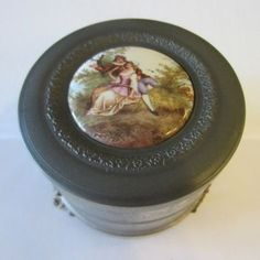 Art Deco Romantic Porcelain Medallion Musical Footed Jewelry Box