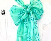 Silk Fringes Scarf Handpainted, Spring Scarf, Pastel Green Wildflowers, Turquoise Green, Mint Green, Silk Scarves Takuyo, 8x54 inches.