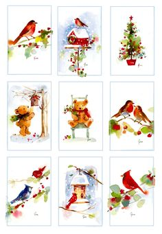"Here is a series of watercolor miniatures I did for Christmas framable ornaments this past Christmas.    Each watercolor was 2""x 3""..."