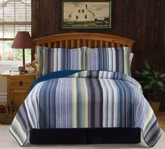 Sycamore Creek Casual Blue Yarn Dye Quilt Teen Boys Blue Stripe Bedding Traditional Lodge Quilts - Sycamore Creek Casual Blue Yarn Dye Quilt will bring a warm and cozy feel to any bedroom. #casual #stripes #bedding #cozy
