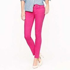 J.Crew factory toothpick cords Sz 25. Hot pink! J.Crew factory toothpick corduroy pants. Size: 25. Inseam: 27.5 inches. Waist (flat, across): 14 inches. Rise: 7 inches. Skinny toothpick fit. Hot pink! Great preowned condition. (Images via jcrew, the fashion blog youfrillme.com and Pinterest.) J. Crew Pants Skinny