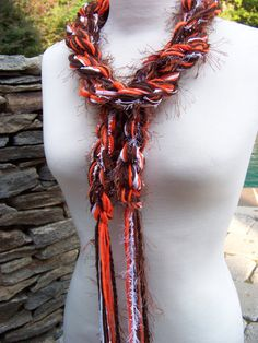 Crochet Scarf - CLEVELAND BROWNS Pippy Scarf - Orange, Brown and White. $20.00, via Etsy.