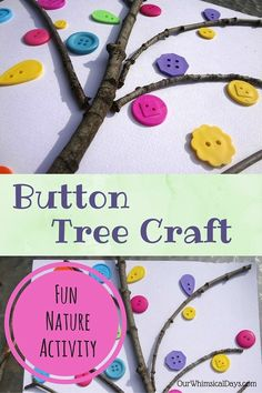 Fun fine motor craft with buttons and sticks!
