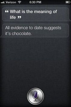 """Hey Suri - """"What's the meaning of life?....all evidence to date suggests it's chocolate."""""""