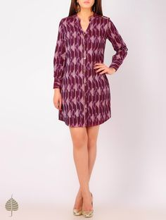 Buy Burgundy - Peach Ikat Button Detailed Cotton Tunic by Jaypore Online at Jaypore.com