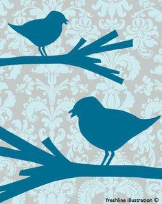 Blue Birds on Vintage Background 8x10 Art Print by Freshline
