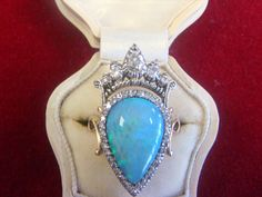 A fine antique Opal and Diamond set in the design of a crown