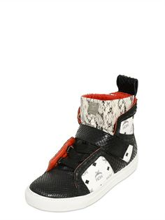MCM - NAPPA & ELAPHE HIGH TOP SNEAKERS - LUISAVIAROMA