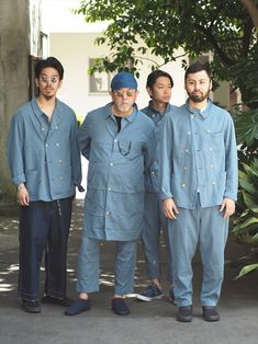Team mates - these guys are cool looking! Workwear Fashion, Dope Fashion, Denim Fashion, Fashion Outfits, Porter Classic, Mode Kimono, Work Uniforms, Rugged Style, Double Denim