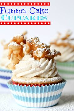 Cupcake Recipes Funnel Cake Cupcakes -- my favorite fair food in a cupcake!Funnel Cake Cupcakes -- my favorite fair food in a cupcake! Funnel Cake Cupcakes, Oreo Cupcakes, Cupcake Cakes, Vanilla Cupcakes, Funnel Cakes, Vanilla Buttercream, Moist Cupcakes, Cupcake Ideas, Unique Cupcake Recipes