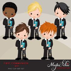 First Communion Clipart for Boys Wonderful set for first communion invitations, parties and more. Set includes 5 cute first communion characters holding a