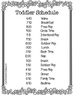 A Typical Toddler Schedule Toddlers can be unpredictable- understatement huh? That is why impletmenting some sort of toddler schedule is important. The post A Typical Toddler Schedule appeared first on Toddlers Ideas. Toddler Fun, Toddler Learning, Learning Activities, Preschool Activities, Toddler Teacher, Preschool Age, Outdoor Activities, Teaching Kids, Daycare Schedule