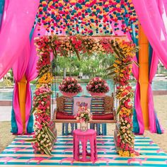 (C) aroosi.events   Indian wedding decor   Mehendi ceremony floral decor   #wittyvows #bridesofwittyvows #mehendidecor #mehendi #mehendisetup #backdrop #floraldecor #floralbackdroo #thursdayvibes #thursdaypost Indian Wedding Mehndi, Indian Mehendi, Mehendi Decor Ideas, Mehndi Decor, Wedding Decorations, Table Decorations, Tropical Vibes, Best Part Of Me, Event Decor
