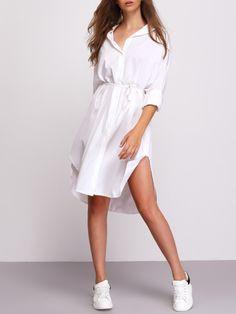 White Split Shirt Dress With Drawstring