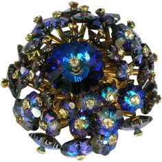 Vendome Blue Margarita Domed Brooch from The Vintage Jewelry Boutique on Ruby Lane