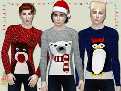 3 Christmas jumpers with cute winter animals for male sims.  Found in TSR Category 'Sims 4 Male Everyday'