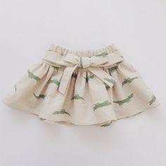 Toddler Girl Skirt With Bow Alligator Crocodile by moonroomkids Baby Girl Skirts, Baby Skirt, Toddler Girl Dresses, Toddler Girls, Little Fashion, Fashion Kids, Crocodile, Girls Pinafore Dress, Toddler Skirt