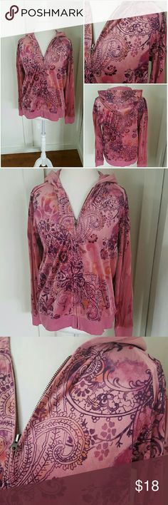 STUDIO WORKS MEDIUM PINK AND PURPLE VELOUR HOODIE Studio Works Sport medium velour hoodie. Zip up. Pink and purple floral design. Long sleeves. Elastic band around the waist and the sleeves. Pre-owned and in good condition. 100% Polyester Studio Works  Tops Sweatshirts & Hoodies
