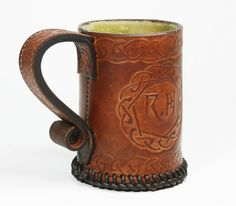 Personalised Celtic Style Embossed Leather Tankard / Ale Mug -  with engraved base message.