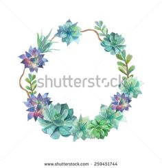 Watercolor succulents wreath. Vintage round frame with tree branch, and succulents. Floral art print in vector. Botanical border in eco style - stock vector