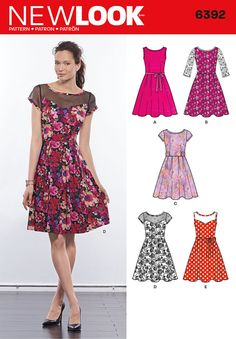 With this dress pattern, you have the option to make a pleated full skirt dress with lace overlay and three-quarter sleeves, dress with contrast sheer yoke, or dress in one fabric. New Look sewing pattern. Dress Sewing Patterns, Clothing Patterns, Pattern Sewing, New Look Patterns, Sewing Clothes Women, Ladies Clothes, Nouveau Look, Full Skirt Dress, Miss Dress