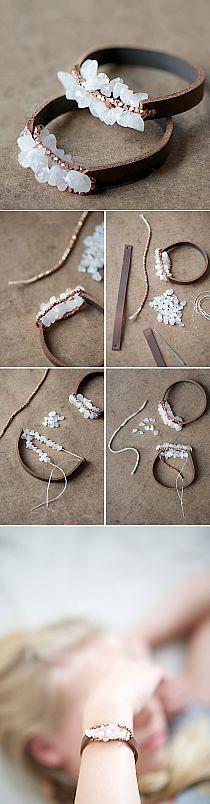 DIY Jewelry - DIY Leather and Stone Bracelet Tutorial. Very Pretty.