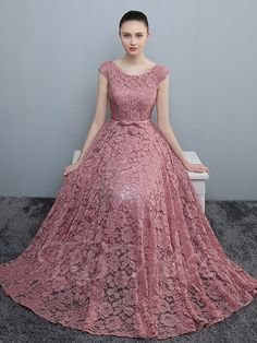 Ericdress A-Line Round Neck Cap Sleeves Bowknot Lace Sashes Evening Dress Long Dress Design, Stylish Dress Designs, Stylish Dresses, Elegant Dresses, Indian Gowns Dresses, Indian Fashion Dresses, Dress Indian Style, Long Gown Dress, The Dress