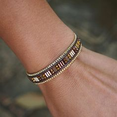 Brown seed beaded mix Single Wrap bracelet with Chain by G2Fdesign