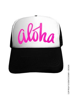 """Use coupon code """"pinterest"""" Aloha - Black with Pink Trucker Hat by DentzDenim"""