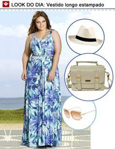 Vestido longo bem fresquinho, chapéu, óculos de sol e bolsa tiracolo. Look perfeito para um passeio! Esse é para inspirar o feriado, hein? ;)