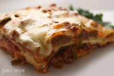 "Delicious, low-carb lasagna using zucchini as ""pasta"".    Skip out on the ""low fat"" cheeses, as they're full of sugars, and opt for a full fat variety for a more healthful (and delicious) lasagna.  I'm thinking a yummy spring veggies version of this would be perfect for weekend guests!"