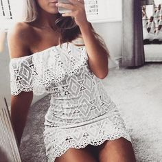Fashion Lace Crochet Off Shouler Scalloped Bodycon Dress